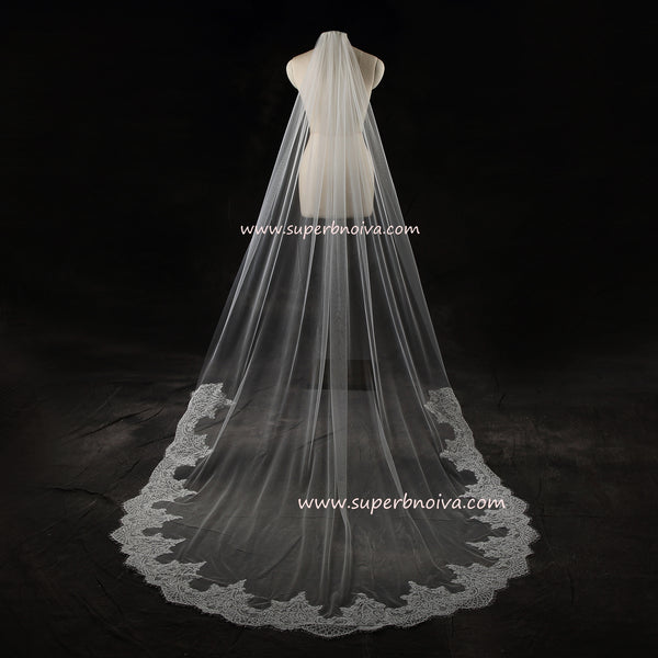 Wedding Large Veil Lace Veil Cathedral Wedding Veil  LV01