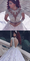 Fashion Lace Wedding Dress Ball Gown With Applique And Beading,Bridal Dresses Ball Gown Wedding Dress with Long Sleeves  BDS0099