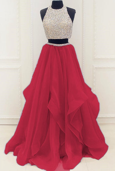 Two Piece Chiffon Long Prom Dress With Beading,Wedding Party Dress,Popular Cocktail Dress,Fashion Evening Dress  PDS0198