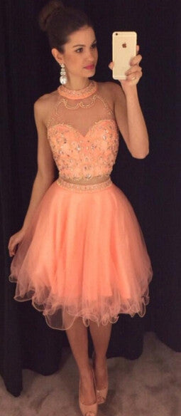 Two Piece Short Homecoming Dress with Beading , Short Prom Dress, PDS0204