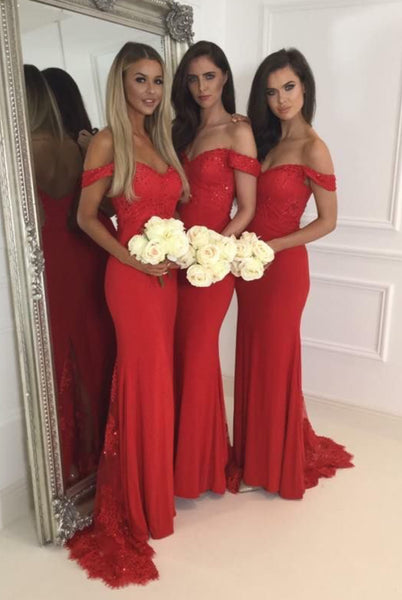 Off the Shoulder Long Bridesmaid Dress,Popular Wedding Party Dress,Mermaid Long Prom Dress  PDS0249