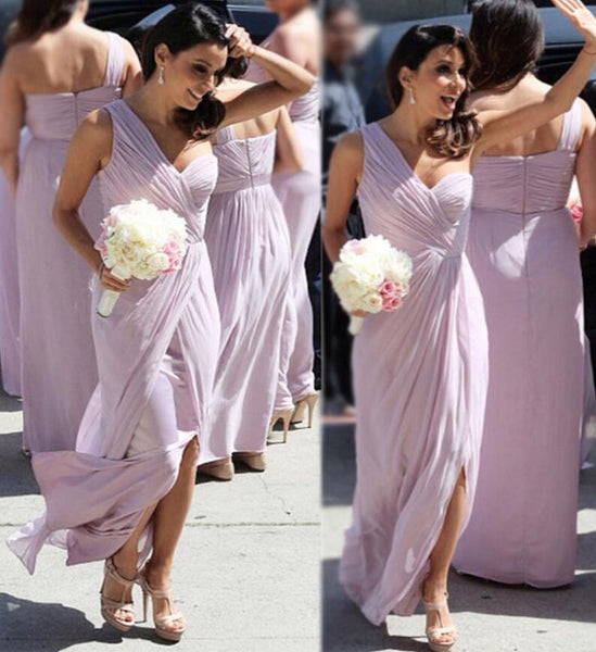 One Shoulder Bridesmaid Dress,Popular Wedding Party Dress,Long Prom Dress  PDS0256