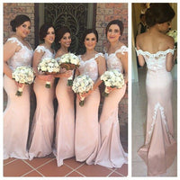 Off the Shoulder Mermaid Bridesmaid Dress,Popular Wedding Party Dress,Long Prom Dress  PDS0259
