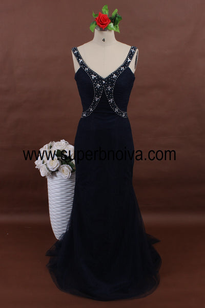 Dark Navy Long Tulle Prom Dress with Beading,Popular Real Photo Wedding Party Dress,Fashion Evening Dresses PDS0106