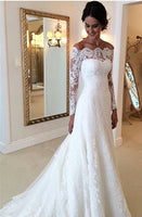 Wedding Dress Off The Shoulder Sleeves ,Vestido de noiva com mangas SN0018