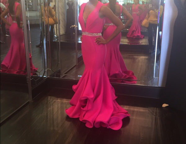 Deep V-neck Sex Mermaid Long Prom Dress  ,Popular Wedding Party Dress,Fashion Evening Dresses PDS0239
