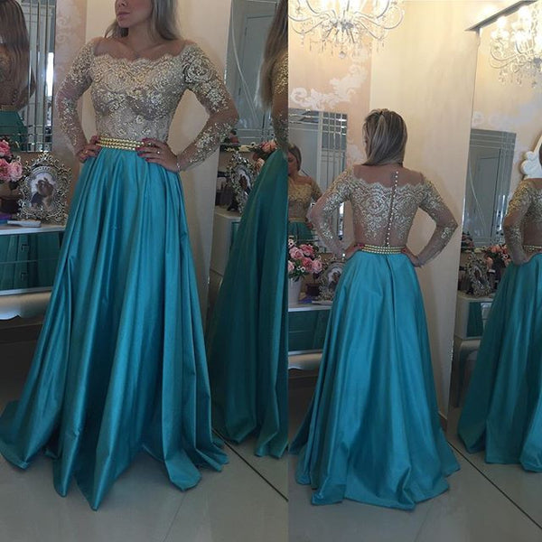 Aline Long Prom Dress With Sleeves ,Popular Wedding Party Dress,Fashion Evening Dresses PDS0237