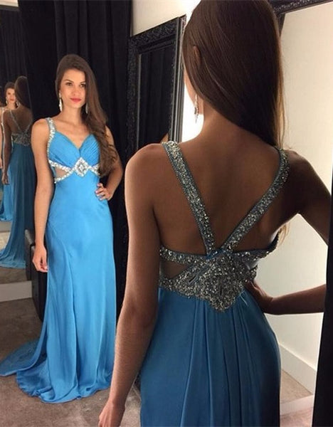 Beaded Chiffon Long Prom Dress ,Popular Wedding Party Dress,Fashion Evening Dresses PDS0236