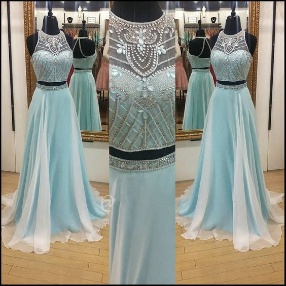 Fashion Two Piece Beaded Long Prom Dress ,Popular Wedding Party Dress,Fashion Evening Dresses PDS0234