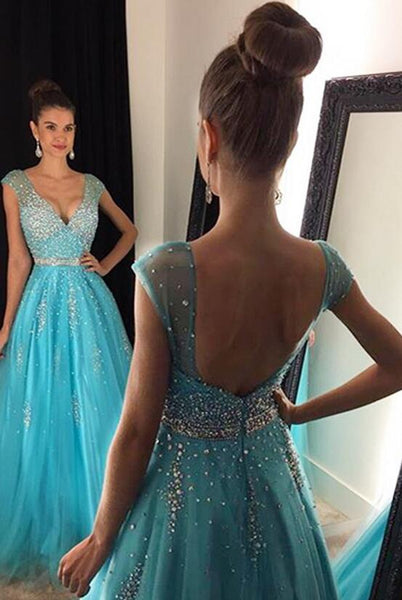 V-neck Long Prom Dress With Beading,Popular Wedding Party Dress,Cocktail Dress, PDS0364