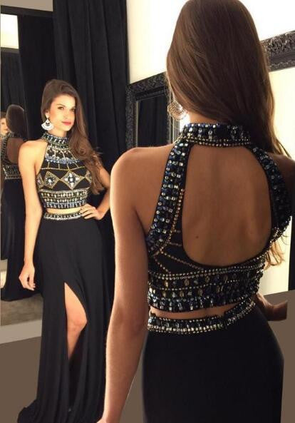 Black Two Piece Beaded Long Prom Dress,Popular Wedding Party Dress,Cocktail Dress,Fashion Evening Dresses PDS0283