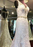 V-neck Mermaid Real Photo Wedding Dress ,Popular Lace Bridal Dress With Beadings BDS0012