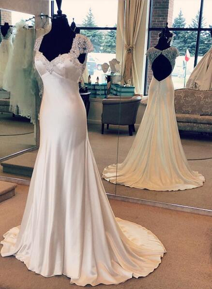 Backless Real Photo Wedding Dress ,Popular Satin Beach Wedding Dresses, Fashion Bridal Dress BDS0014