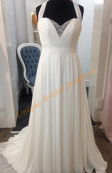 A-line Beach Wedding Dress With Beading , Popular Bridal Dress ,  BDS0284