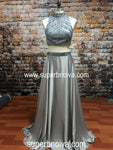 Two Piece Real Photo Long Prom Dress,Beading Wedding Party Dress,Halter Neck Cocktail Dress,Backless Evening Dresses PDS0001