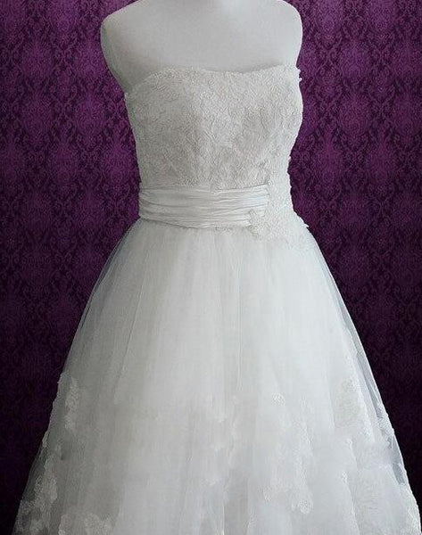 Popular Short Appliqued Wedding Dress, Short Wedding Reception Bridal Dress BDS0088