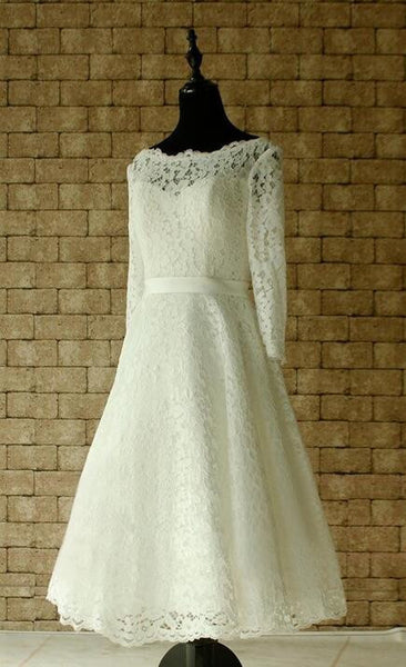 Popular Short Lace Wedding Dress, Short Wedding Reception Bridal Dress BDS0087