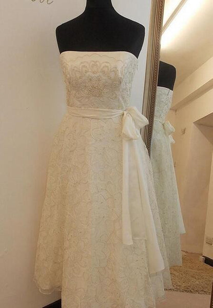 Popular Short Lace Wedding Dress, Short Wedding Reception Bridal Dress BDS0086