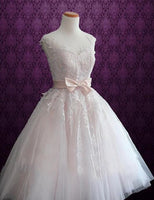 Popular Appliqued Short Wedding Dress, Short Wedding Reception Bridal Dress BDS0083