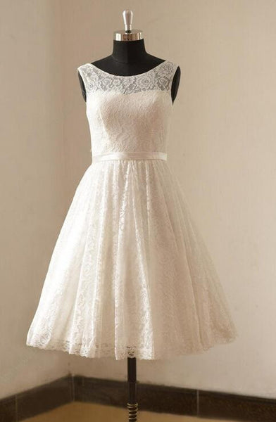 Popular Short Wedding Dress, Lace Wedding Reception Bridal Dress BDS0052