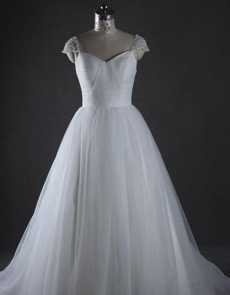 A-line  Ball Gown Wedding Dress ,Popular Beading Bridal Dress  BDS0049