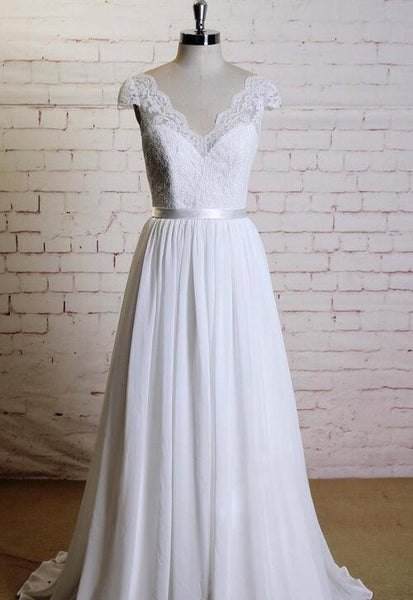 V-neck A-line Beach Wedding Dresses, Fashion Chiffon Bridal Dress BDS0046
