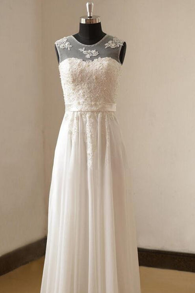Popular V-back A-line Beach Wedding Dresses, Fashion Appliqued Bridal Dress BDS0035