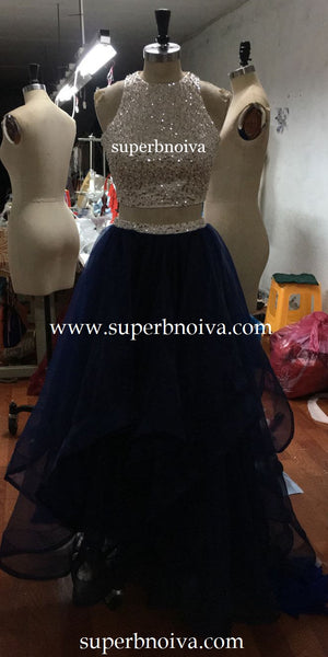 Two Piece Real Photo Long Prom Dress,Beading Evening Dresses,Fashion Party Dress PDS0067