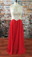 A-line Red Chiffon Long Prom Dress with Beading,Popular Real Photo Wedding Party Dress,Fashion Evening Dresses PDS0219