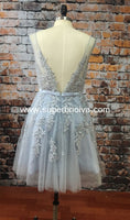 A Line Tulle Real Photo Homecoming Dress With Applique and Pearl,Short Party Dresses Prom Dresses Cocktail Dresses Graduation Dresses PDS0221