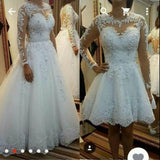 2 in 1 A-line Appliqued Wedding Dress,Bridal Dresses with Long Sleeves  BDS0112