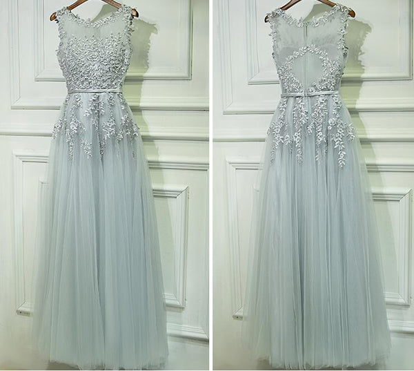 Fashion A-line Prom Dresses With Applique And Pearls, Charming Prom Evening Dresses,Long Prom Dress PDS0385