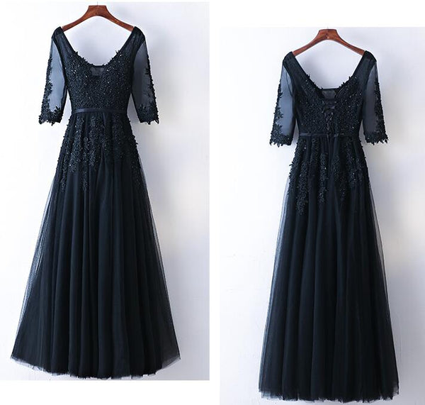 Fashion A-line Prom Dresses With Applique And Beading, Charming Prom Evening Dresses,Long Prom Dress PDS0387
