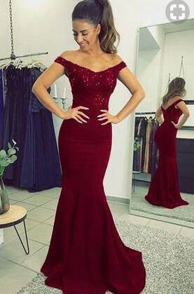 Off the Shoulder Mermaid Long Prom Dress PDS0420