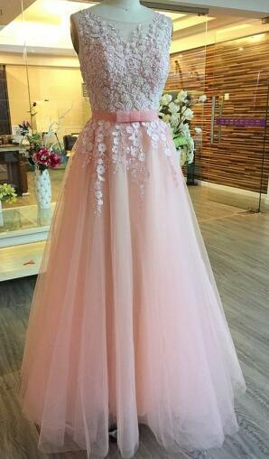 Elegant scoop long prom party dresses with beaded open back, dreamy pink formal evening gowns PDS0432