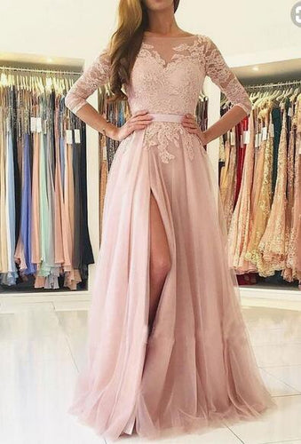 Blush Long prom party dresses with backless short sleeves, fashion formal evening gowns with lace PDS0431