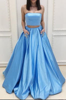 Two Piece Satin Long Prom Dress Wedding Party Dress Formal Dress PDS0467