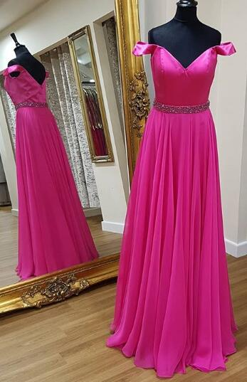 Off the Shoulder A-line Long Prom Dress Wedding Party Dress Formal Dress PDS0481