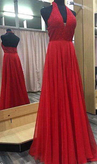 V-neck A-line Beaded Top Long Prom Dress Wedding Party Dress Formal Dress PDS0482