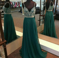Backless A-line Top Beaded Long Prom Dress, Bridesmaid Dress ,Mother of The Bride Dress PDS0497