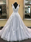 Deep V-neck Ball Gown Wedding Dress with Applique Bridal Dresses BDS0321