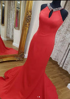 Halter Neck Mermaid Long Prom Dress With Beading ,Party Dress ,Formal Dress, PDS0528