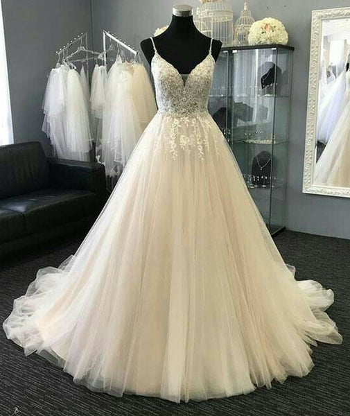 V-neck Tulle Ball Gown Wedding Bridal Dresses With Applique and Beading ,Vestidos de Novia BDS0340