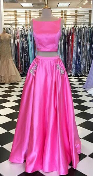 Fashion Two Piece Long Prom Dress Wedding Party Dress Formal Dress PDS0609