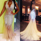 Fashion Sexy Mermaid Beaded Long Prom Dress Wedding Party Dress Formal Dress PDS0614