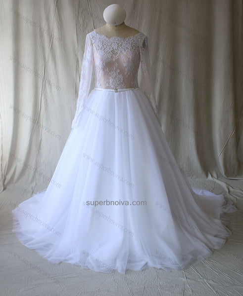 Custom Made A-line Lace and Tulle Wedding Dress with Long Sleeves,Wholesale Real Photo Bridal Wedding Gown BDS0597