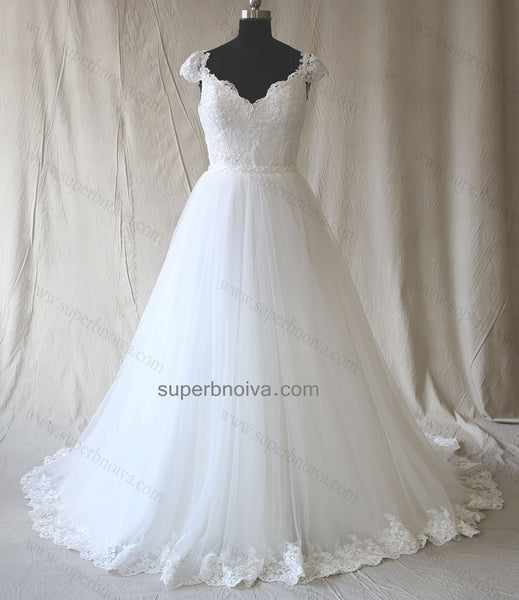 Custom Made A-line Lace and Tulle Wedding Dress with Cap Sleeves,Wholesale Real Photo Bridal Wedding Gown BDS0596