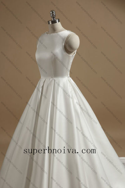 Real Photo Ball Gown Satin Wedding Dresses With Beading , Fashion Custom Made Bridal Dresses, Plus Size Wedding dress BDS0684