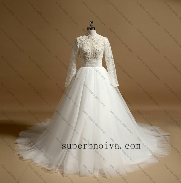 Real Photo Ball Gown Wedding Dresses With Beading , Fashion Custom Made Bridal Dresses, Plus Size Wedding dress BDS0685
