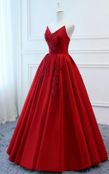 Strapless Ball Gown Long Prom Dress,Sweet 16 Dress, Pageant Dress, Wedding Party Dress PDS1058